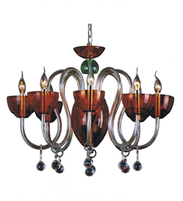 Modern Red Glass Chandelier