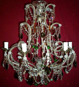 Antique 19th Century Coloured Drop Crystal 6 Light Chandelier.