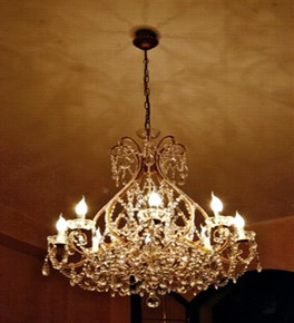 Antique Flat Base Crystal 8 Light Chandelier.