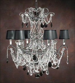 Elegant Crystal Drop 6 Light Chandelier.