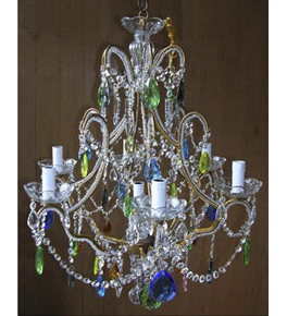 Elegant Continental Style Colourful Crystal Drop 6 Light Chandelier.