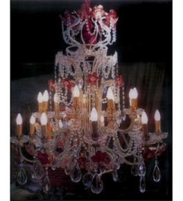 Antique Crystal Drop 18 Light Hale Style Chandelier With Floral Details.