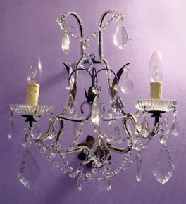 Antique Crystal Drop 2 Light wall lamp.