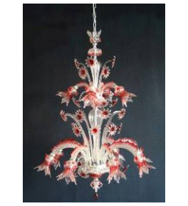 Murano Glass 12 Light Venetian Style Floral Tiered Chandelier.