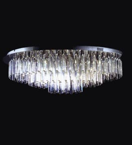 36 Light Tiered Crystal Prism Flush Fitting Light