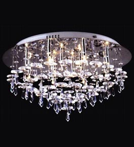 Tiered 12 Light Flush Fitting Chandelier