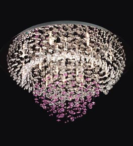 Two Tone Crystal Cluster Surface Mounted Ceiling Light