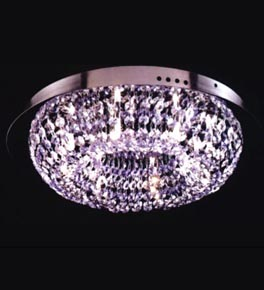 8 Light Coloured Crystal Ring Ceiling Light