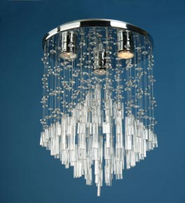 3 Light Icicle Crystal Flush Fitting Light