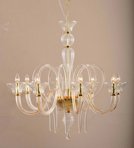 8 Arm Traditional Swirled Murano Style Glass Chandelier