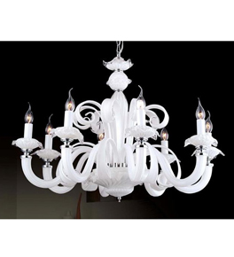 Traditional 8 Light Murano Style Chandelier