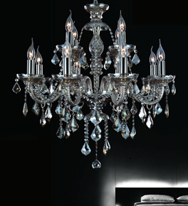 12 Light Ash Grey Crystal Leaf Drop Chandelier