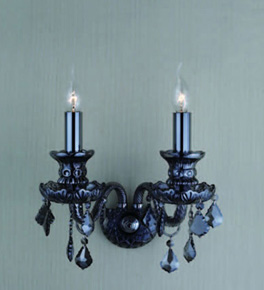 Double Ash Grey Crystal Wall Light