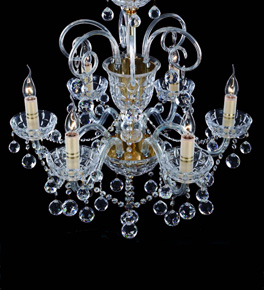 6 Arm Crystal Ball Drop Chandelier