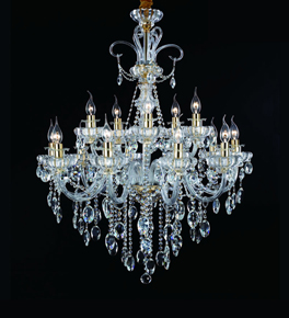 15 Light Chandelier With Hanging Crystal Beads