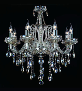 8 Light Chandelier With Champagne Crystal Drops
