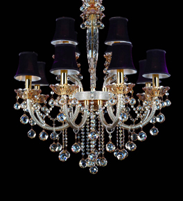 Hale Chandelier With Shades and Black Tea Crystals