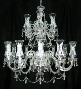 Crystal Hale Chandelier With Glass Shades