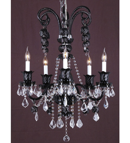 Clear Crystal Drop & Coloured Murano Glass Chandelier