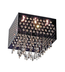 9 Light Framed Hanging Crystal Chandelier