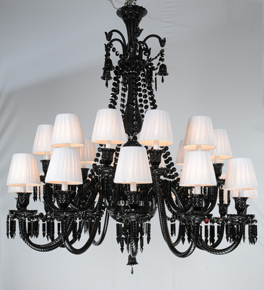 Black Chandelier with Contrasting Shades