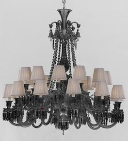 2 Tier Grey Crystal Chandelier with White Shades