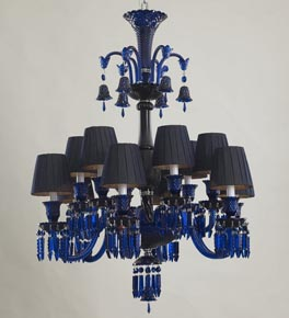 12 Light Blue Tones Shaded Chandelier