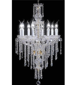 Hand Made Murano Style Chandelier With Hanging Crystal