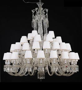 48 Light Crystal Baccarat Style Chandelier with Shades