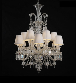 12 Light Baccarat Style Chandelier with Shades