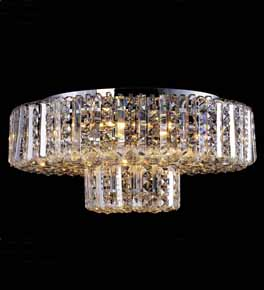 Coloured Crystal Flush Chandelier