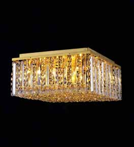 Square Surface Mounted Chandelier With Coloured Crystal