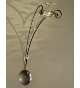Botte Design Long wall lamp With Hand Forged Details And Glass
