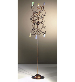 Schizzo Design Floor Lamp With Hand Bent Arms And Blown Glass