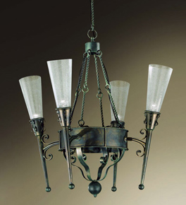 Fiaccole Design 4 Light Chandelier With Cone Shaped Blown Glass