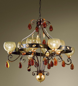 Ambra Design Chandelier With 4 Curves, Inlets & Hand-blown Glass