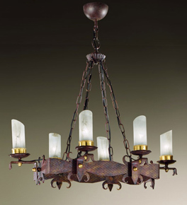 Gladiatore Design Rectangular Chandelier Made From Hand Hammered Metal
