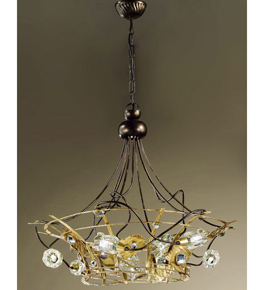 Arlecchino design 9 Light chandelier with Swarovski crystal details