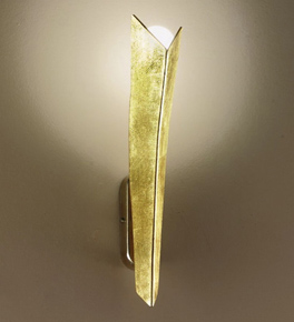 Virgola design long metal wall lamp that in decorated is gold leaf and silver leaf