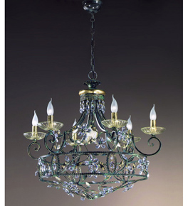 Menta Design Hand Made Chandelier with Floral Crystal Detail