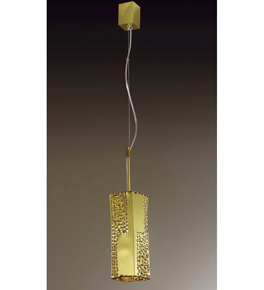 Forme Design gold pendant that has drill, flame cut & glass details
