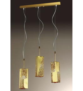 Forme Design gold triple chandelier that has drill, flame cut & glass details