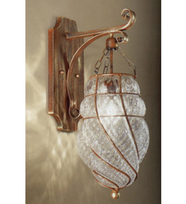 Soffiati design hanging wall light with blown glass inside