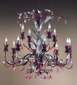 Foresta Design Colourful Chandelier with Leaf Detail and Crystal Drops