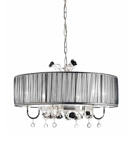 Paris Design Chrome Framed Drum Chandelier with Black Rose Details