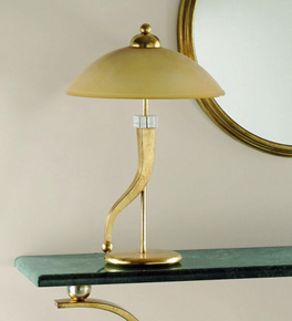 Piramide design gold leaf finish and blown glass table lamp