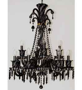 Red/Black Crystal Chandelier with Hanging Beads