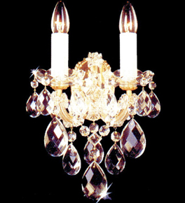 Crystal Wall Light with Hanging Crystal