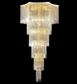 Tiered cylinder crystal chandelier