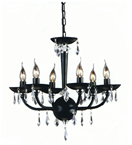 Modern Moulded Black Glass 8 Light Chandelier with Crystal Drops